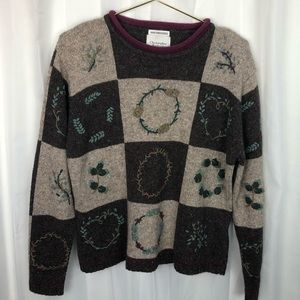 Vintage Hand Embroidered Wool Sweater Medium